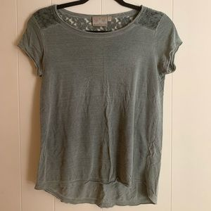Olive green mesh patterned top